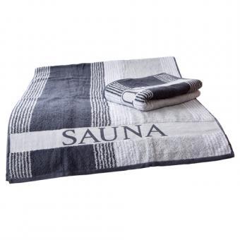 Saunatuch XL, Frottier, 80 x 200 cm, grau/weiß/anthrazit